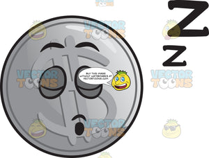 Sleeping Silver Coin Emoji