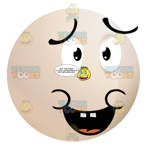 Apologizing Light Colored Smiley Face Emoticon With Open Mouth, Buck Teeth, Lowered Eye Brows, Saying Sorry