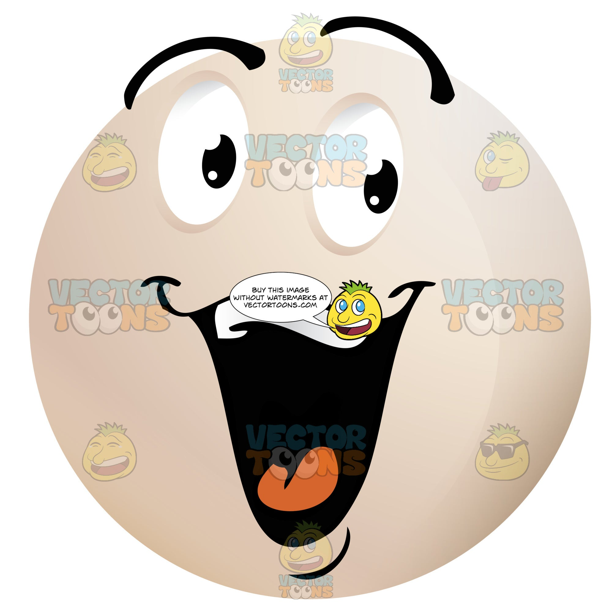 Laughing Light Colored Smiley Face Emoticon With Raised Eyebrows