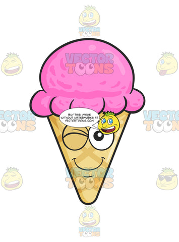 Smiling And Winking Ice Cream In Cone