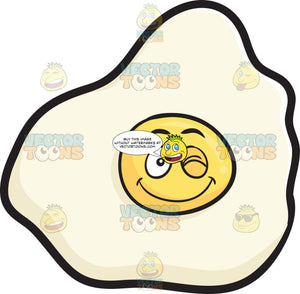 Smiling And Winking Sunny Side Up Egg Emoji