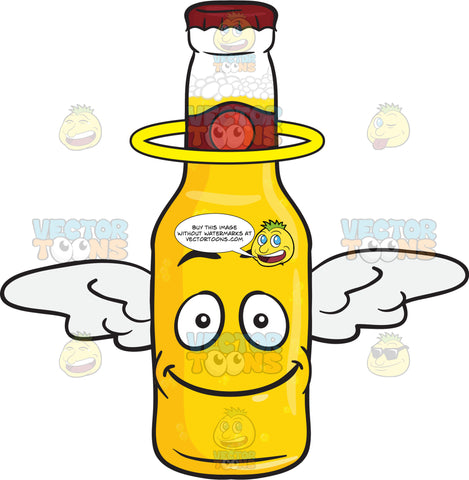 Smiling Bottle Of Beer With Halo And Wings Emoji