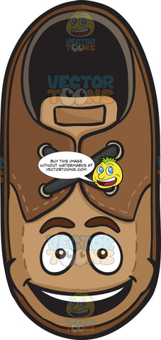 Smiling Brown Shoe With Bright Look On Face Emoji