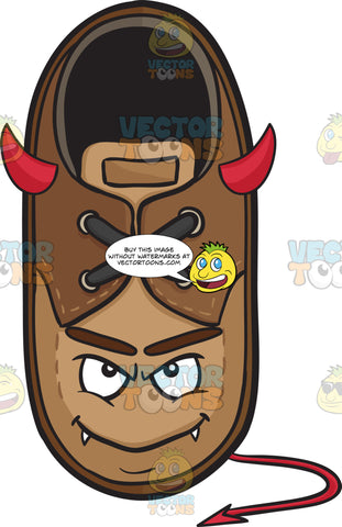 Smiling Brown Shoe With Fangs Horns And Tail Emoji