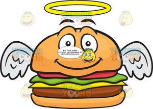 Smiling Cheeseburger With Halo And Angel Wings