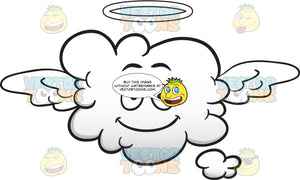 Smiling Cloud Flying With Halo And Wings Emoji