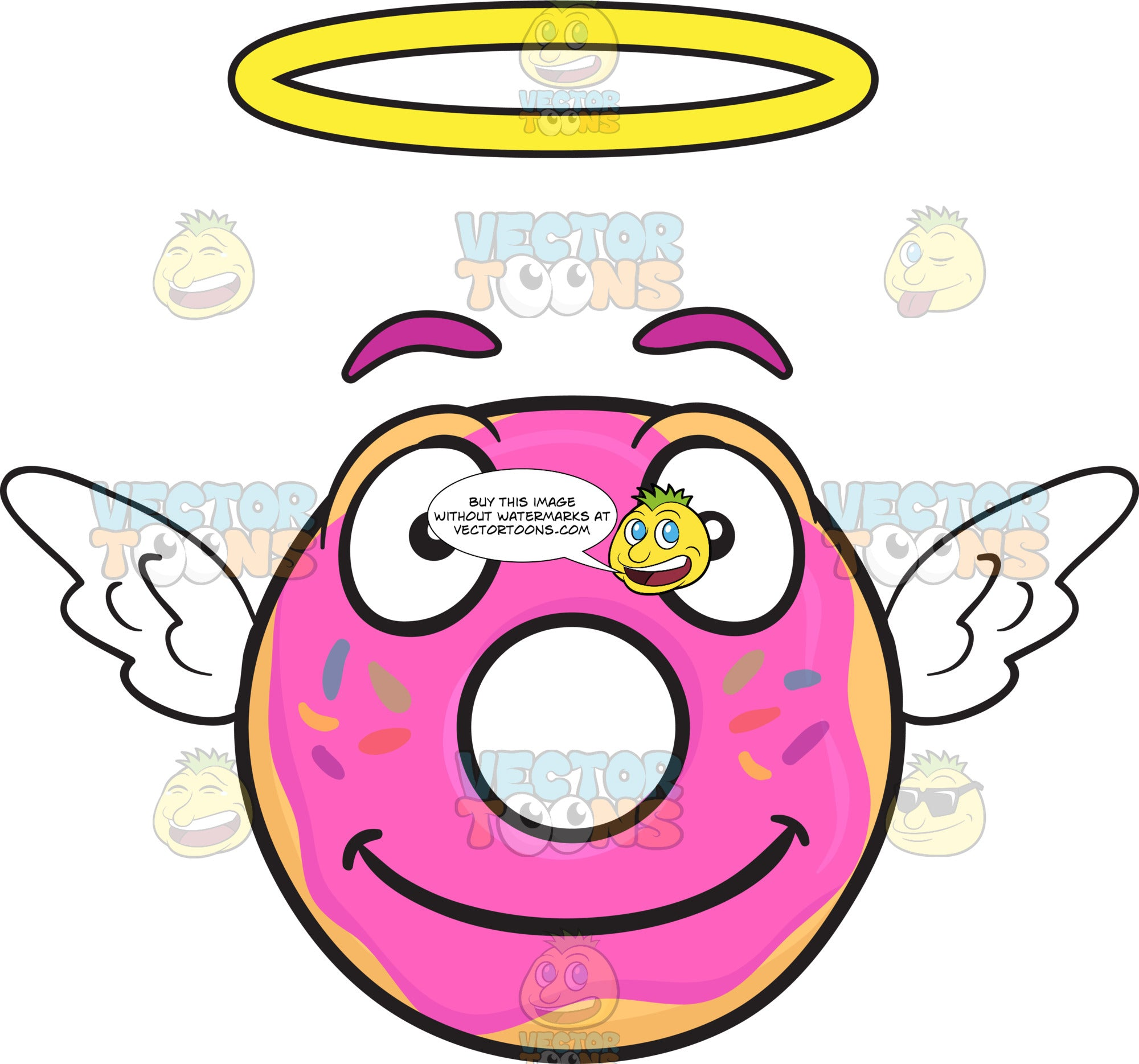 Smiling Donut Flying With Wings And Halo Emoji