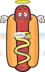 Smiling Hot Dog With Halo And Angel Wings