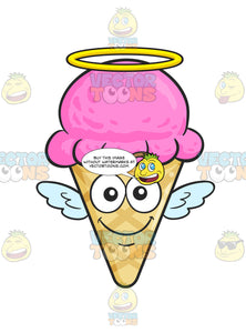 Smiling Ice Cream On Cone With Wings And Halo