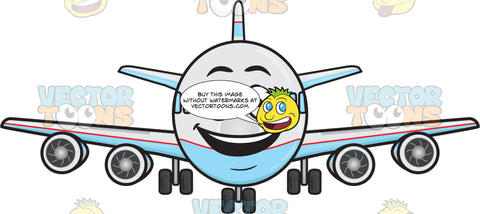 Smiling Jumbo Jet Plane With Bright Look On Face Emoji