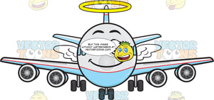 Smiling Jumbo Jet Plane With Halo And Wings Emoji