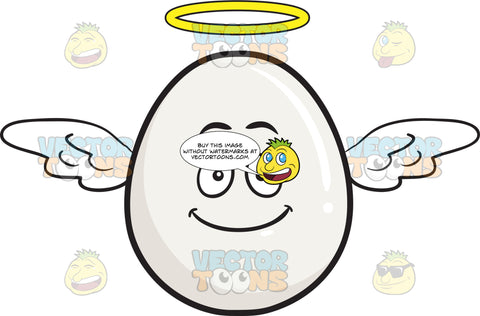 Smiling Whole Egg Flying With Wings And Halo Emoji
