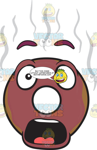 Smokin' Burnt Donut Looking Shocked And Surprised Emoji