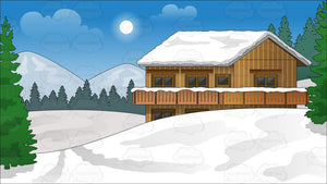 Snow Covered Ski Chalet Background