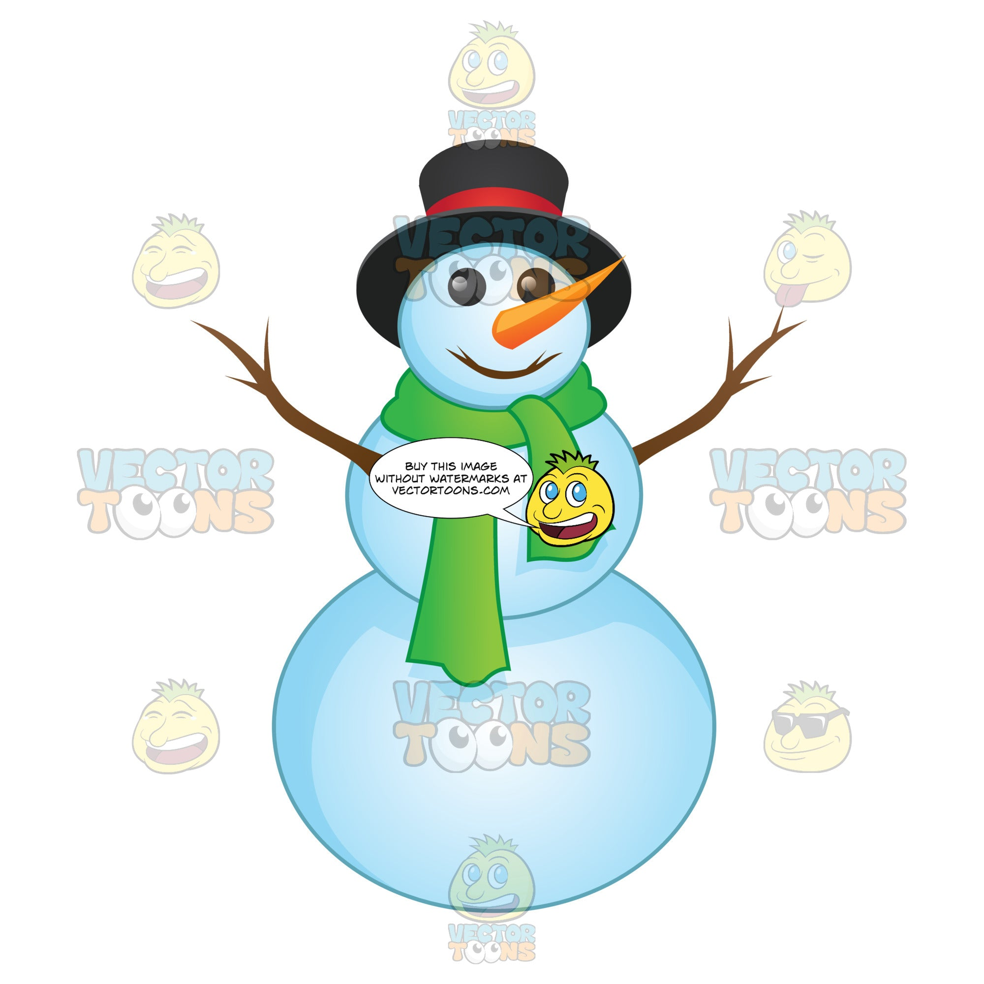Snow Man With A Stick Mouth Wearing A Green Scarf