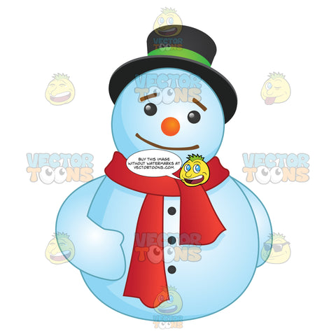 Round Snowman Wearing A Red Scarf
