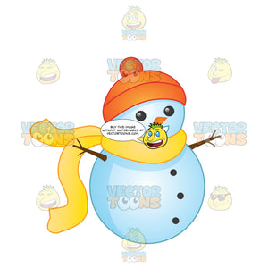 Small Snowman Wearing Orange Hat And Large Yellow Scarf