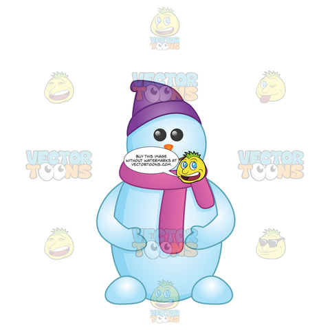 Cartoon Looking Snowman With Feet Wearing A Purple Hat And Scarf