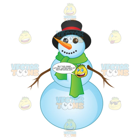Smiling Snowman With A Green Scarf