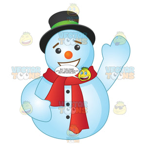 Round Snowman Wearing A Red Scarf With A Large Smile Waving Hello