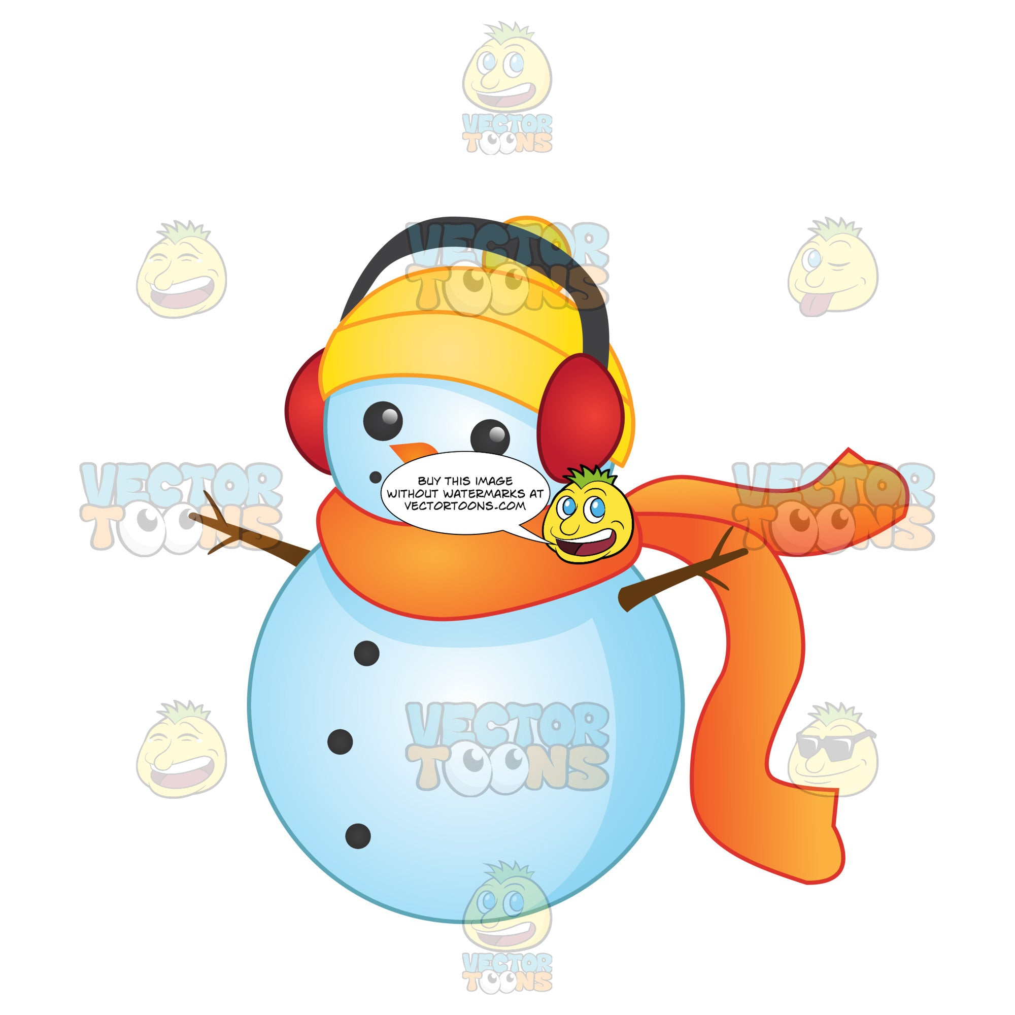 Snowman Wearing Red Earmuffs A Yellow Hat And Orange Scarf With A Button Smile