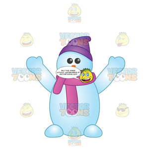 Happy Snowman With Feet Purple Hat And Scarf And A Stick Smile