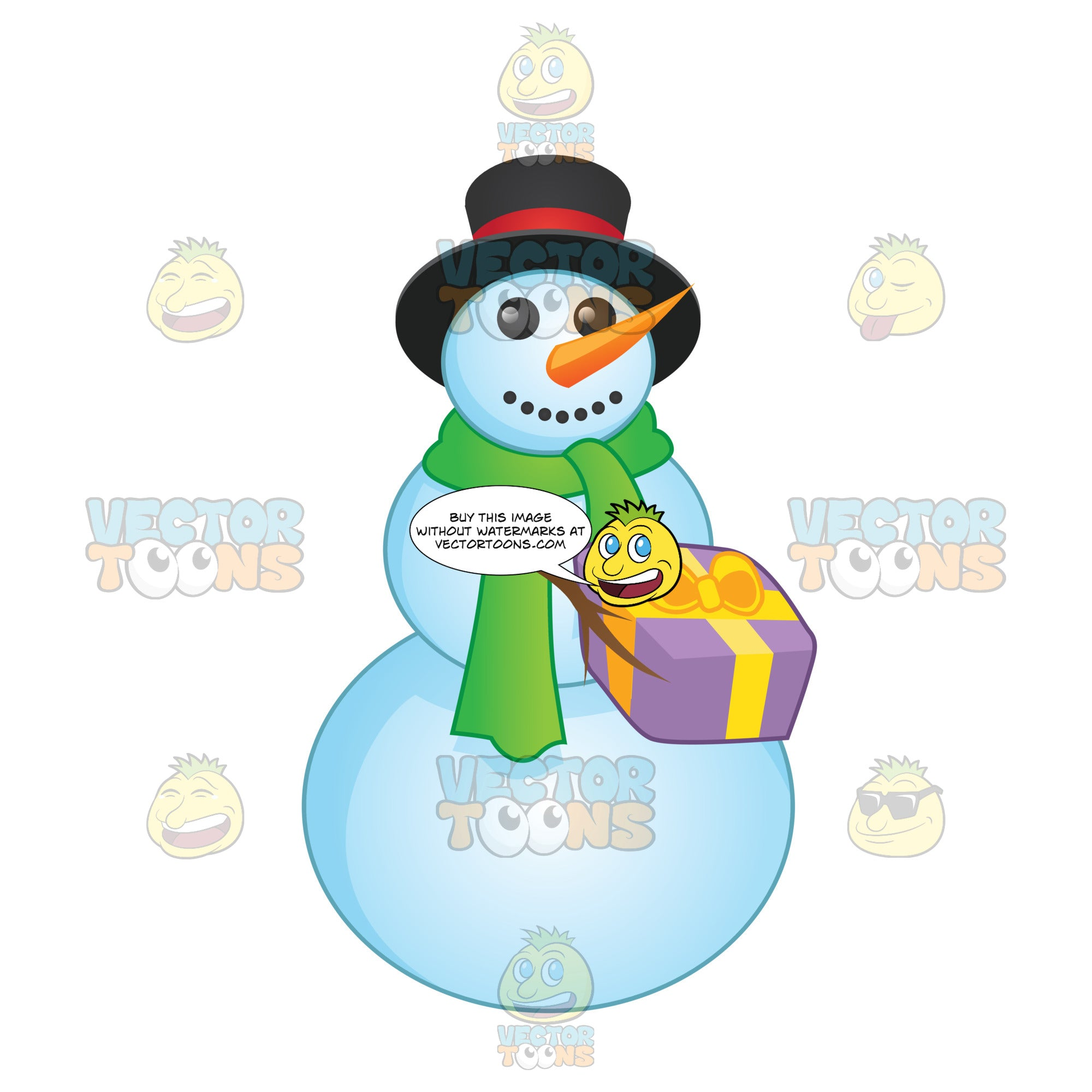 Snowman With Button Smile And Green Scarf Holding A Gift