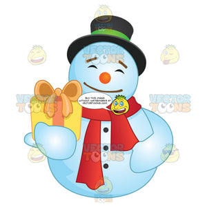 Jolly Happy Snowman Holding Out A Gift While Wearing A Red Scarf