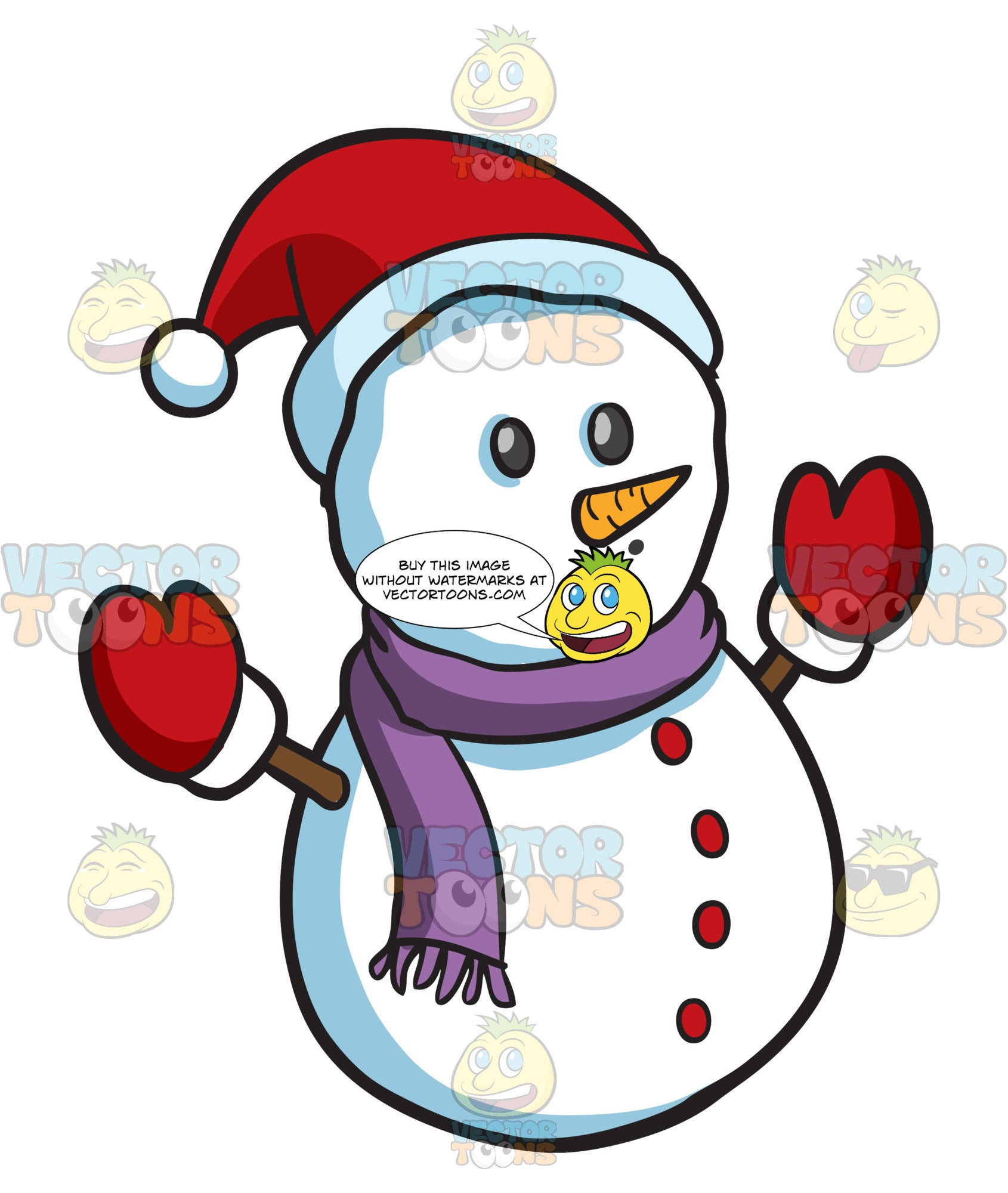 A Snowman With Red Mittens And Hat