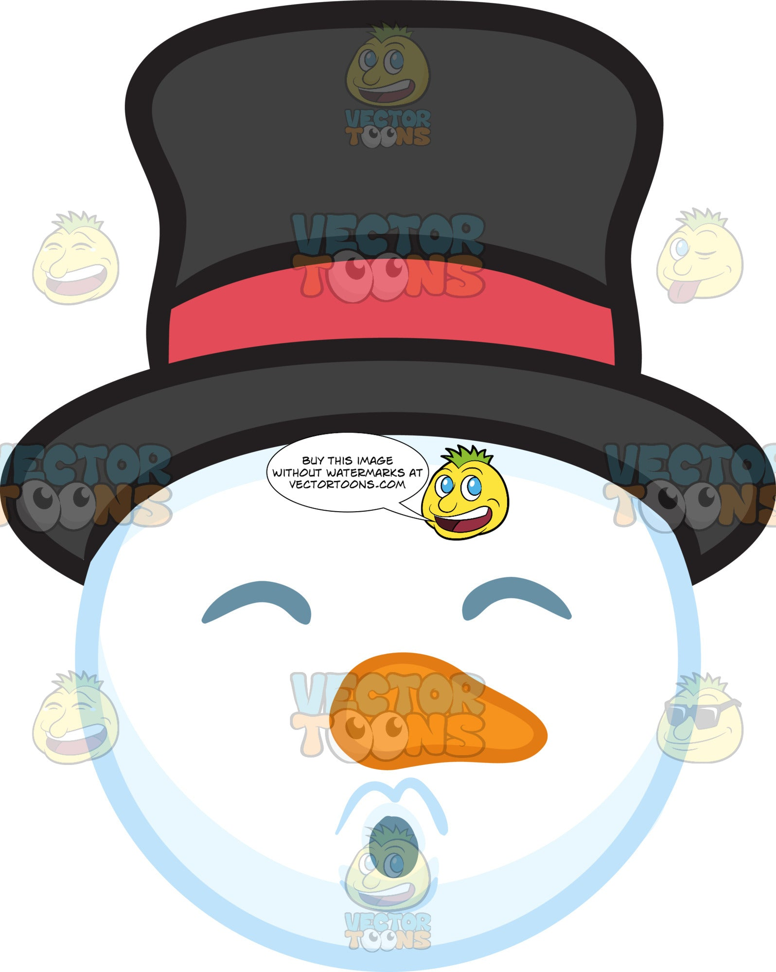 A Snowman Head Blowing Kisses Clipart Cartoons By Vectortoons