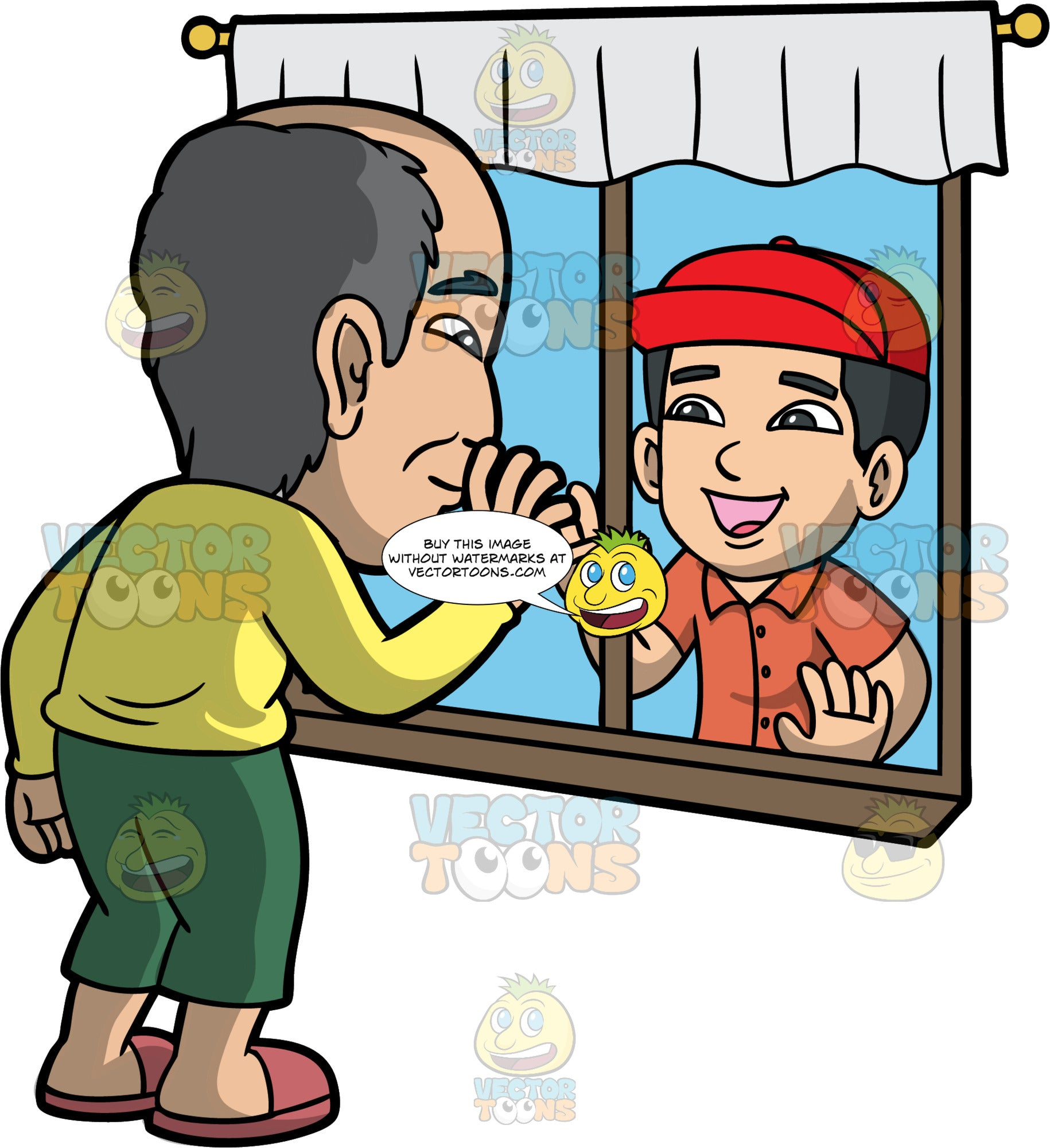 A Young Boy Visiting His Grandfather Through A Window. An elderly Asian man wearing green pant, and a yellow shirt, standing inside his home, waving to an Asian boy who is standing outside and waving back through the window, having a socially distant visit with each other