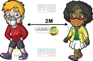 Two Friends Walking Six Feet Apart From Each Other. A man wearing dark gray shorts, a long sleeve red shirt, purple shoes, and a gray and white face mask, and a black woman wearing a white skirt, a yellow cardigan over a green shirt, lavender shoes, and an orange face mask, going for a walk together while maintaining a physical distance between them