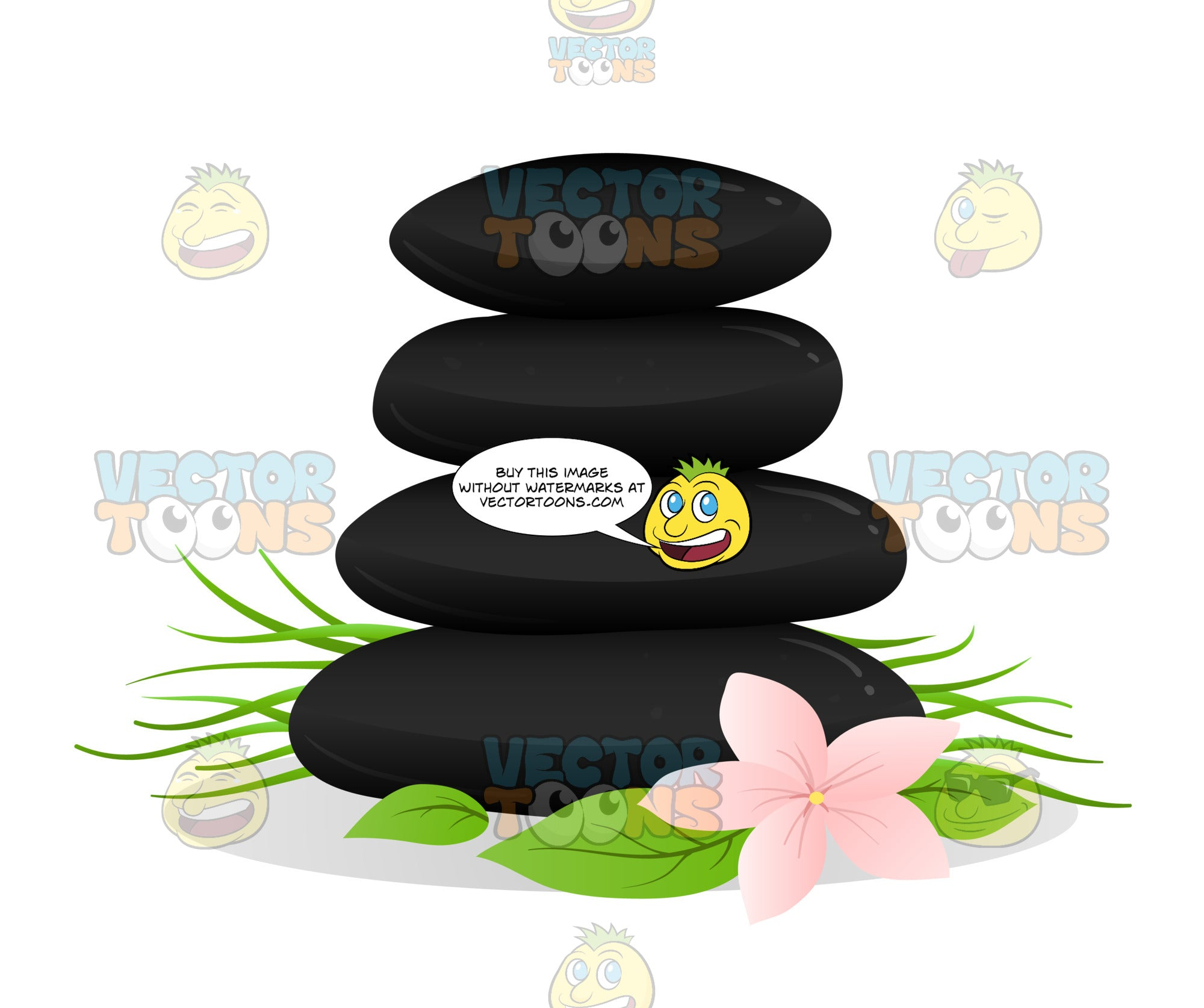 Spa Massage Stones Set Accented With Flowers