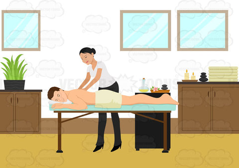 A Man Relaxes While Having A Back Massage