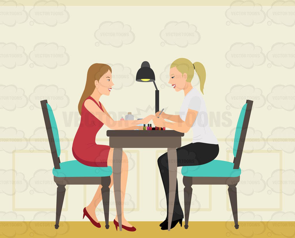 A Woman Getting Her Nails Done By A Nail Care Expert Clipart Cartoons By Vectortoons