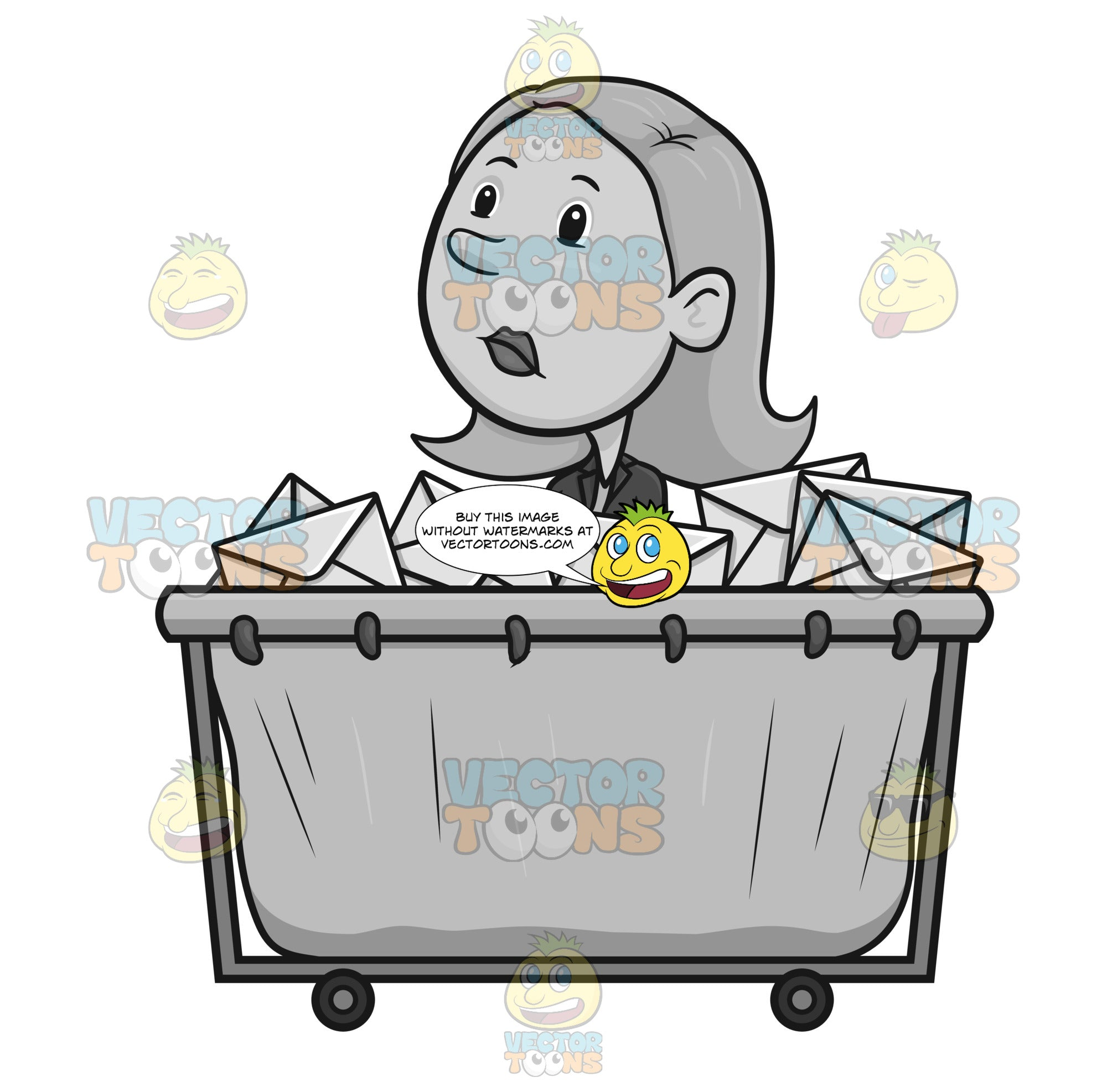Spaced Out Female Employee In Front Of A Letter Bin