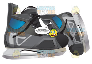 Pair Of Black Ice Skates With One Sideways