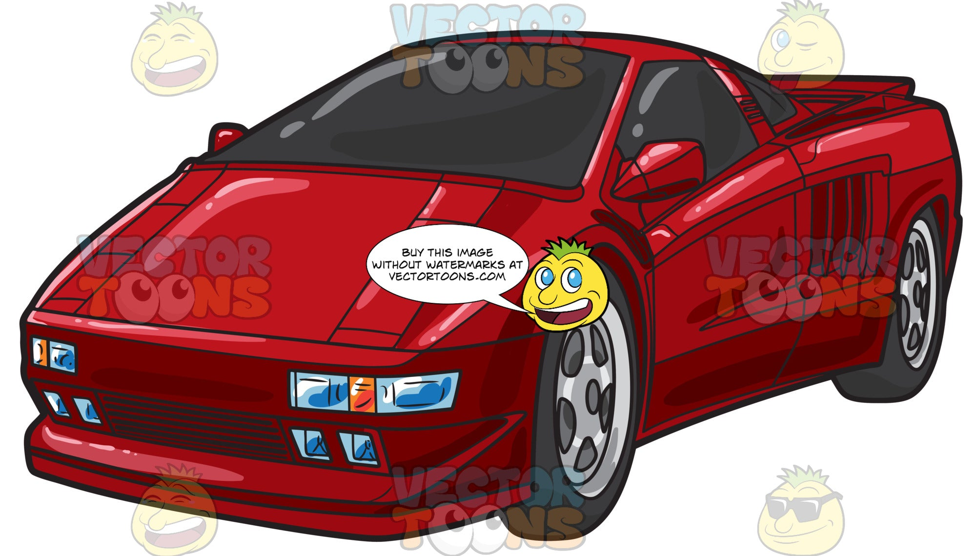 A Sexy Red Sports Car Clipart Cartoons By Vectortoons