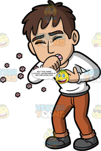 A Man Coughing And Spreading Germs. A man wearing brown pants, a long sleeve white shirt, and dark gray shoes, coughing and spreading germs into the air