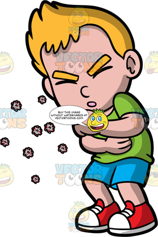 A Boy Coughing Germs Into The Air. A boy wearing blue shorts, a green shirt, and red sneakers, coughing without covering his mouth and spreading his germs into the air