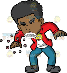 A Man Sneezing Out Germs. A black man wearing blue jeans, a red shirt over a white t-shirt, and gray shoes, sneezing without covering his nose and mouth and spreading germs into the air