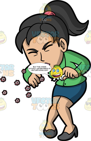 A Woman Sneezing And Spreading Germs. An Asian woman wearing a blue skirt, a green blouse, and high heels, sneezing without covering her nose or mouth and spreading germs into the air