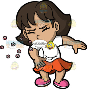A Girl Sneezing And Spreading Germs. A girl wearing an orange skirt, a white t-shirt, and pink shoes, sneezing without covering her mouth or nose and spreading germs into the air