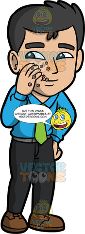 A Man Touching His Face And Leaving Germs Behind. A man wearing black pants, a blue shirt, a green tie, and brown shoes, touching his cheek with a dirty hand and leaving microscopic germs behind