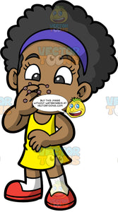 A Little Girl Touching Her Nose And Leaving Germs Behind. A black girl wearing a yellow dress and red shoes, touching her nose with an unclean hand and leaving germs on her face