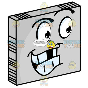 Smiley Face Emoticon With Missing Teeth, Eyebrows, Looking Right On Grey Square Metal Plate Tilted Right