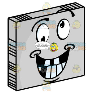 Smiling Crazy Faced Smiley Face Emoticon With Eyes Rolling In Different Directions On Grey Square Metal Plate Tilted Right