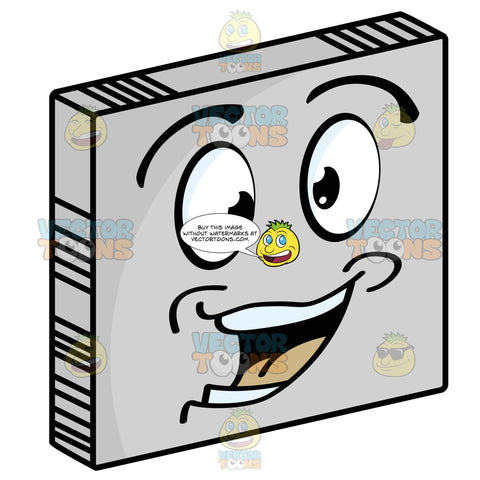 Excited Smiley Face Emoticon With Strong Lower Lip, Dimples Looking Left On Grey Square Metal Plate Tilted Right