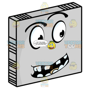 Questioning Smiley Face Emoticon With Block Teeth, Looking Right On Grey Square Metal Plate Tilted Right
