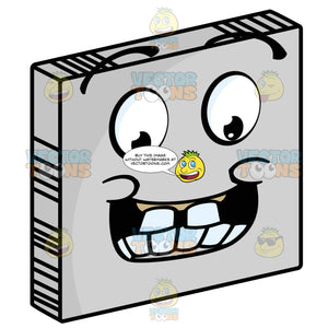 Giddy Smiley Face Emoticon With Big Block Teeth, Large Grin And Raised Eyebrows On Grey Square Metal Plate Tilted Right
